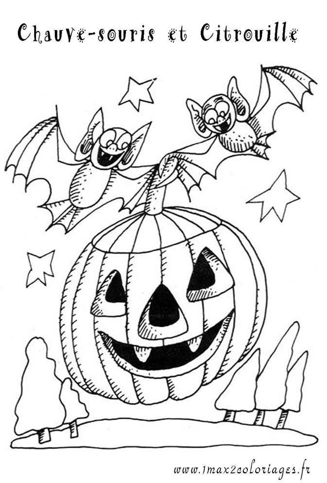 Coloriages halloween 2 chauve souris sur une citrouille - Dessin halloween chauve souris ...