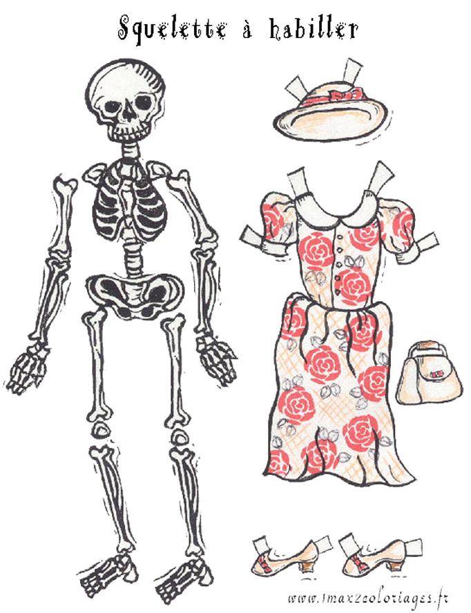 Coloriages halloween habille ce squelette pour halloween - Dessin de squelette ...