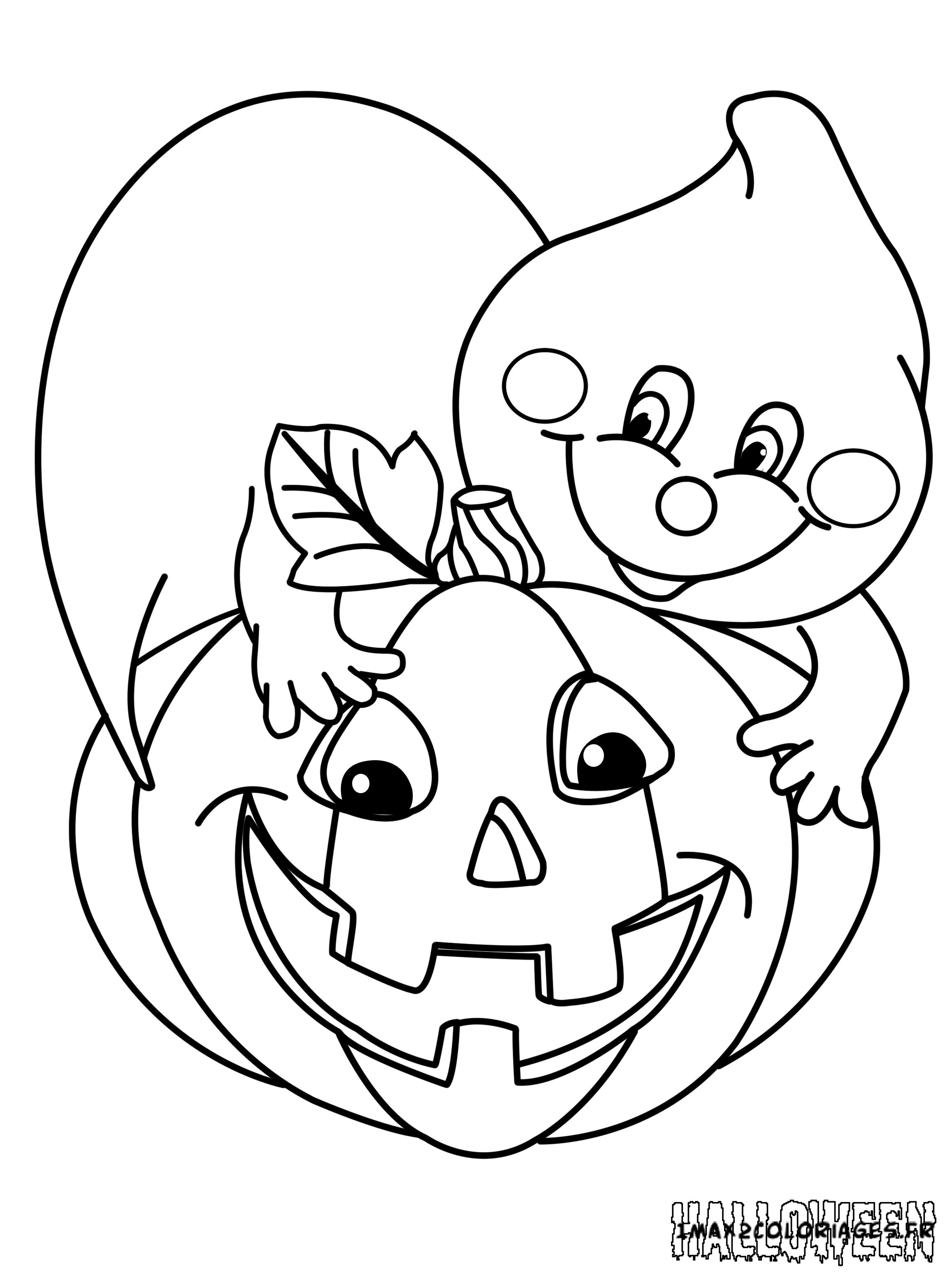 Coloriages Une citrouille d'halloween a imprimer