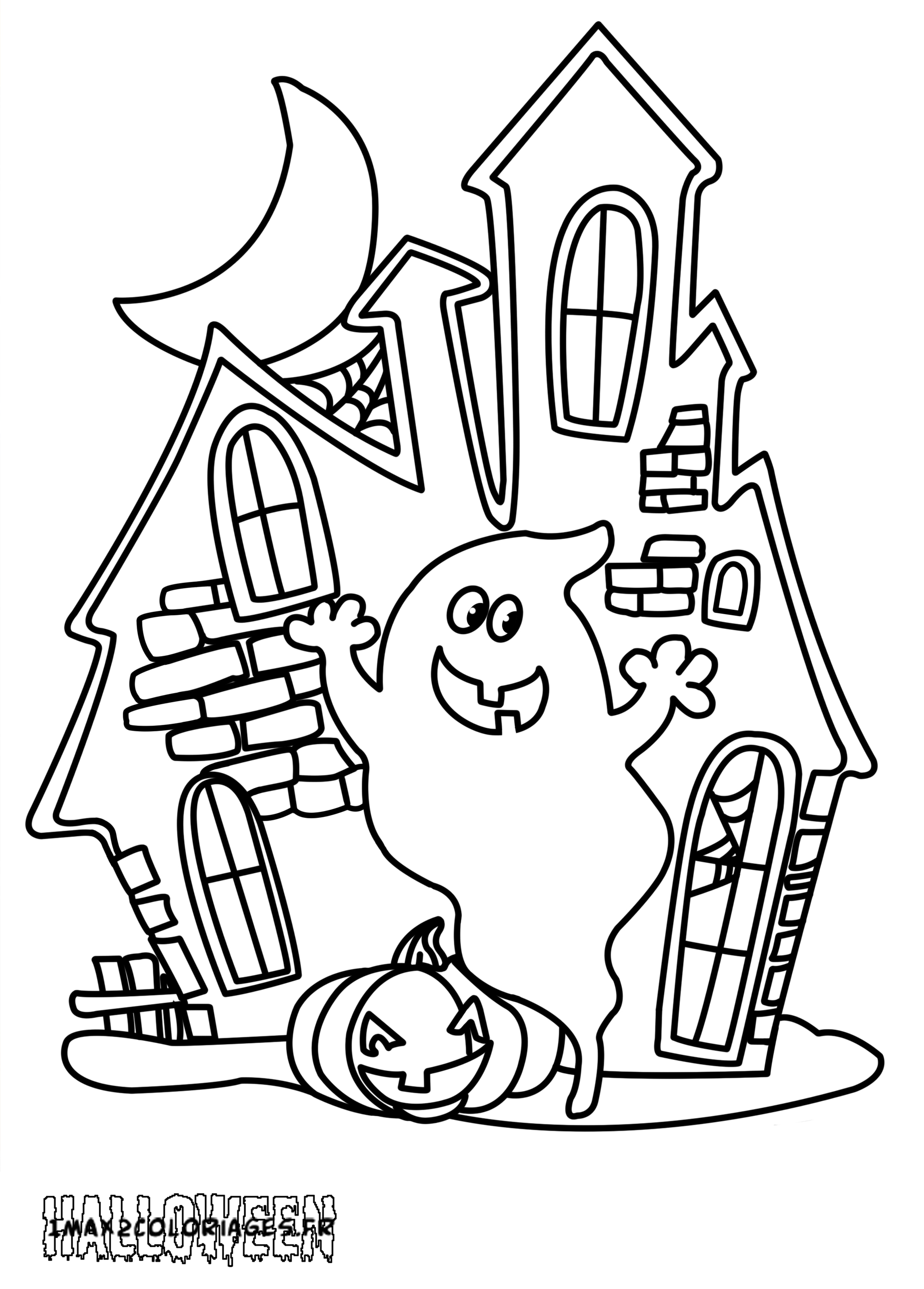 Coloriages Gentil Fantome Devant Sa Maison Hantee A Imprimer