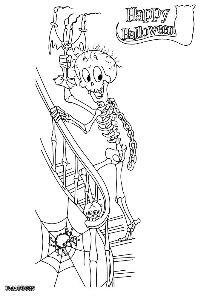 Coloriages halloween le squelette au manoir a imprimer - Coloriage squelette halloween ...