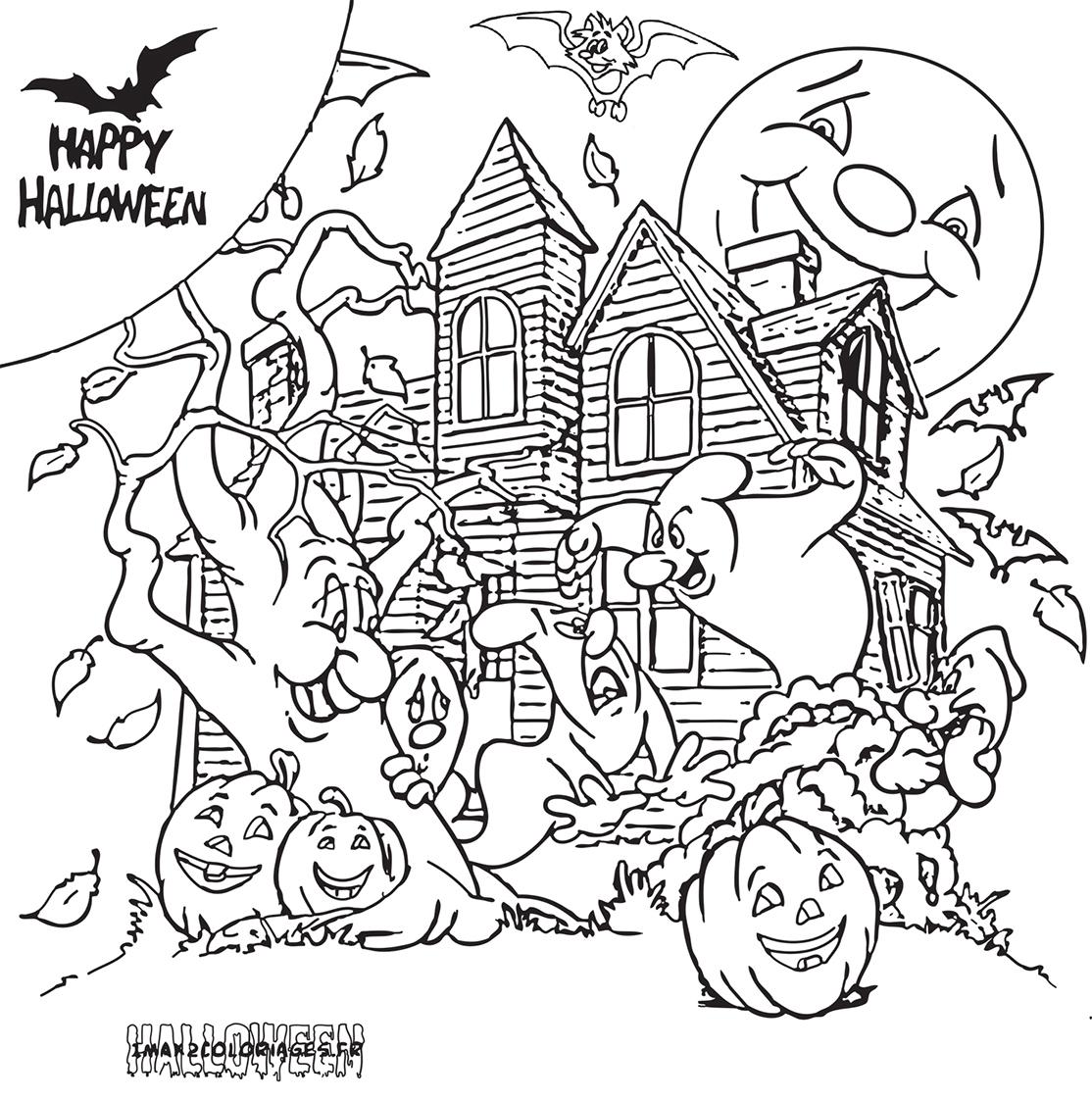 Coloriage manoir d 39 halloween entour de fant mes - Manoir dessin ...