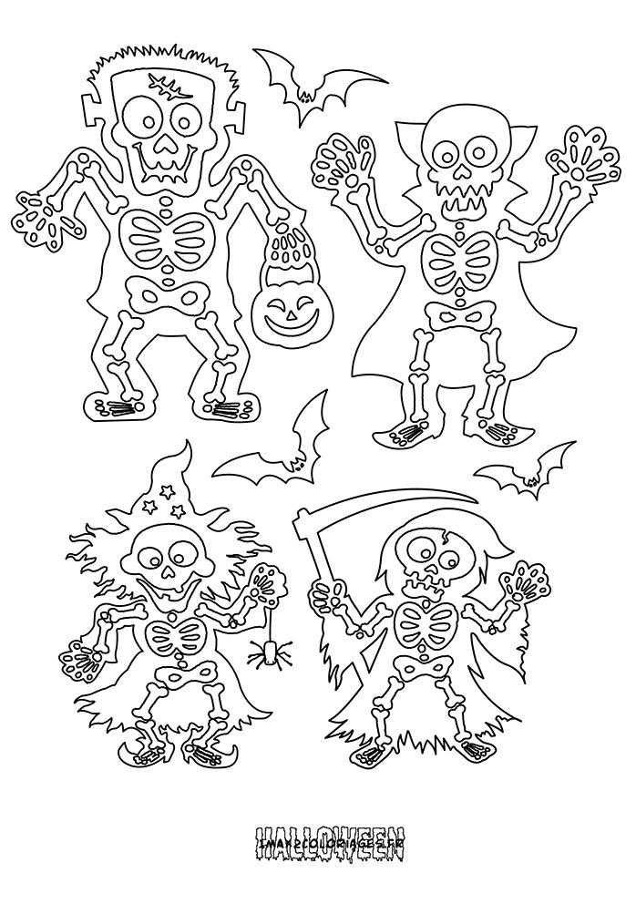 Coloriages des squelettes horribles et rigolos d 39 halloween - Dessin de squelette ...