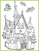 Coloriage Chateau Sorciere.Nouveaux Coloriages Halloween Avec Ses Sorcieres Ses Squelettes Ses