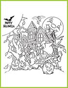 Nouveaux coloriages halloween avec ses sorcieres ses squelettes ses monstres - Manoir dessin ...