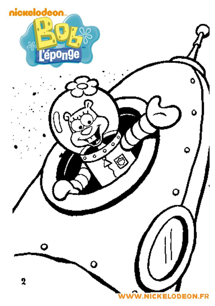 Coloriage Bob L Eponge Sandy L Ecureuil Dans Sa Fusee A Imprimer