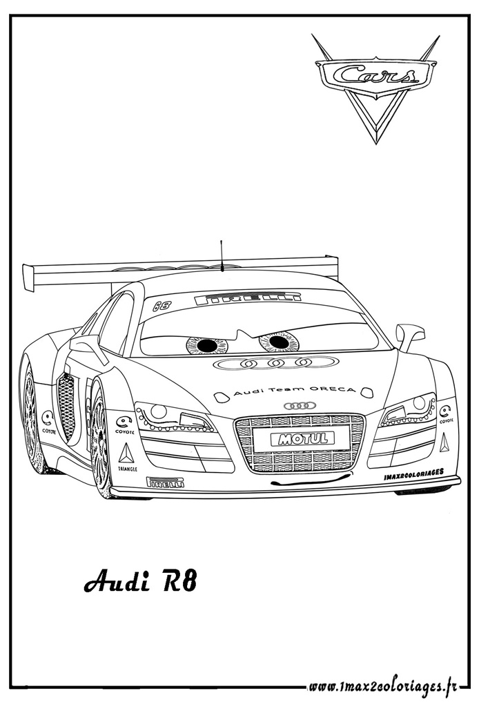 Coloriages de bagnoles dessin audi r8 fa on cars colorier - Coloriage audi r8 ...