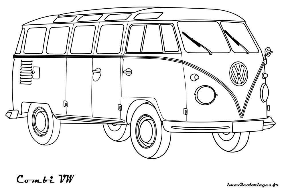 coloriages de bagnoles combi volkswagen a colorier. Black Bedroom Furniture Sets. Home Design Ideas