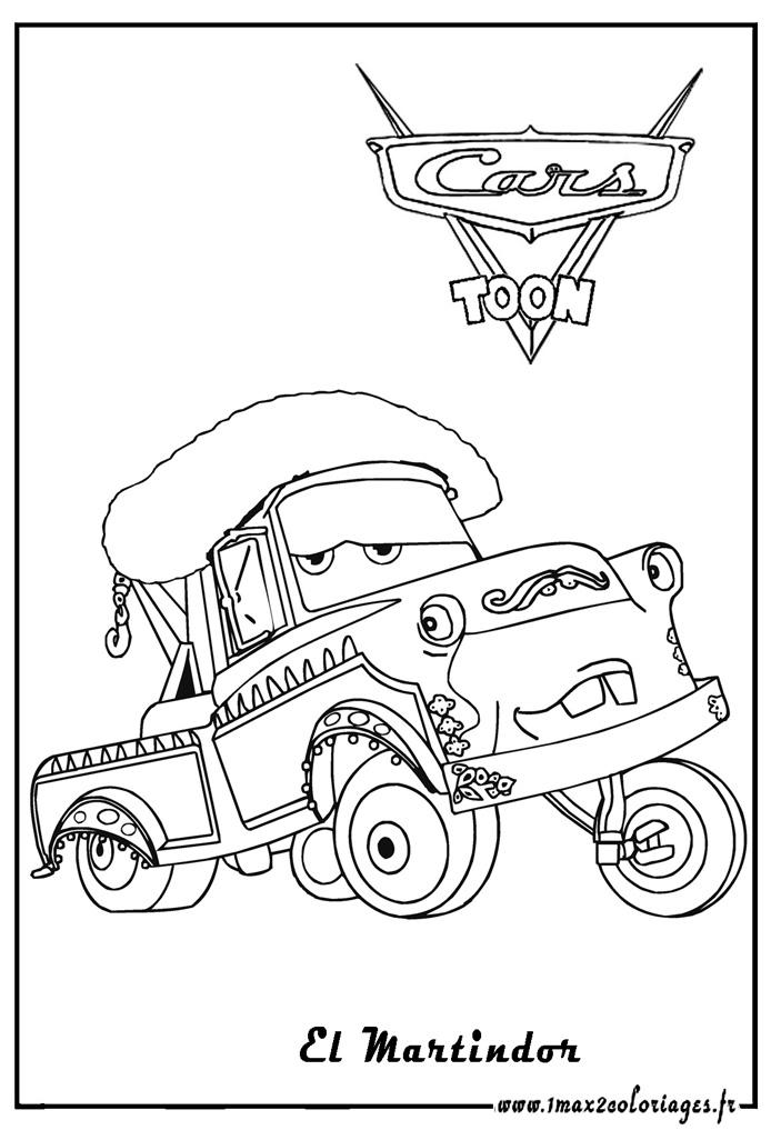 Coloriages cars 2 el martindor cars toon cars 2 coloriages les bagnoles 2 - Coloriage cars toon ...