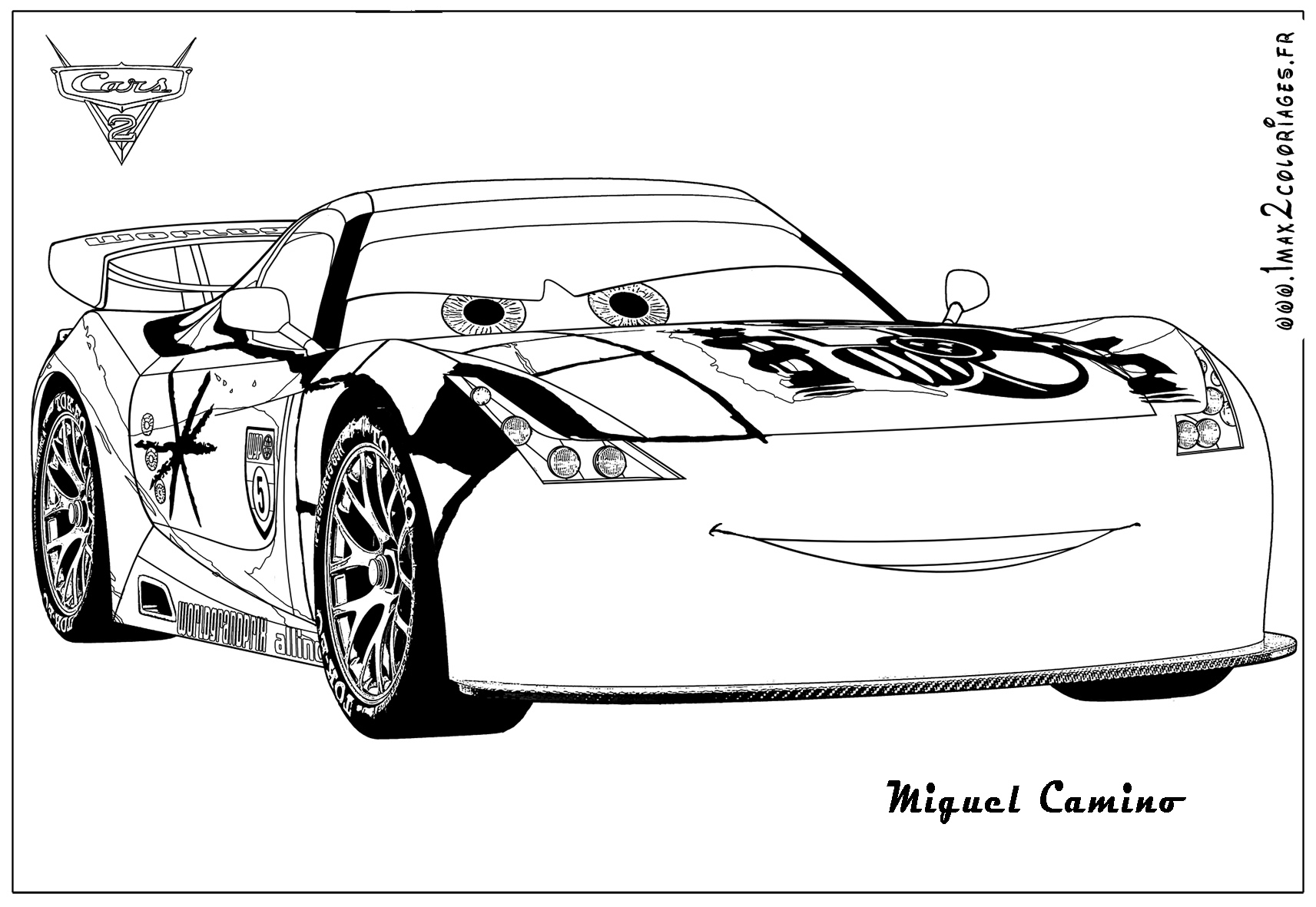 Coloriages Cars 2 Miguel Camino Cars2 Coloriages Les Bagnoles 2