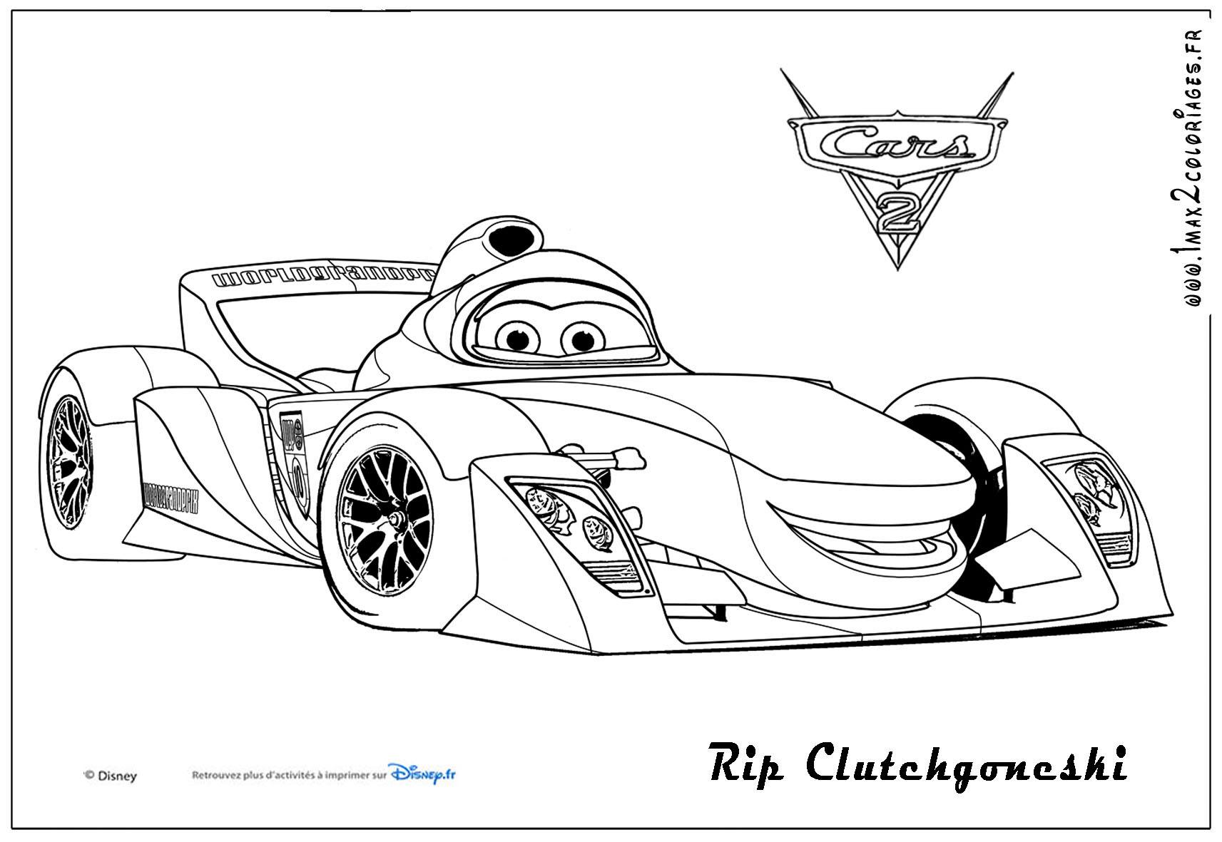 Coloriages cars 2 rip clutchgoneski cars 2 coloriages les bagnoles 2 - Coloriage cars facile ...
