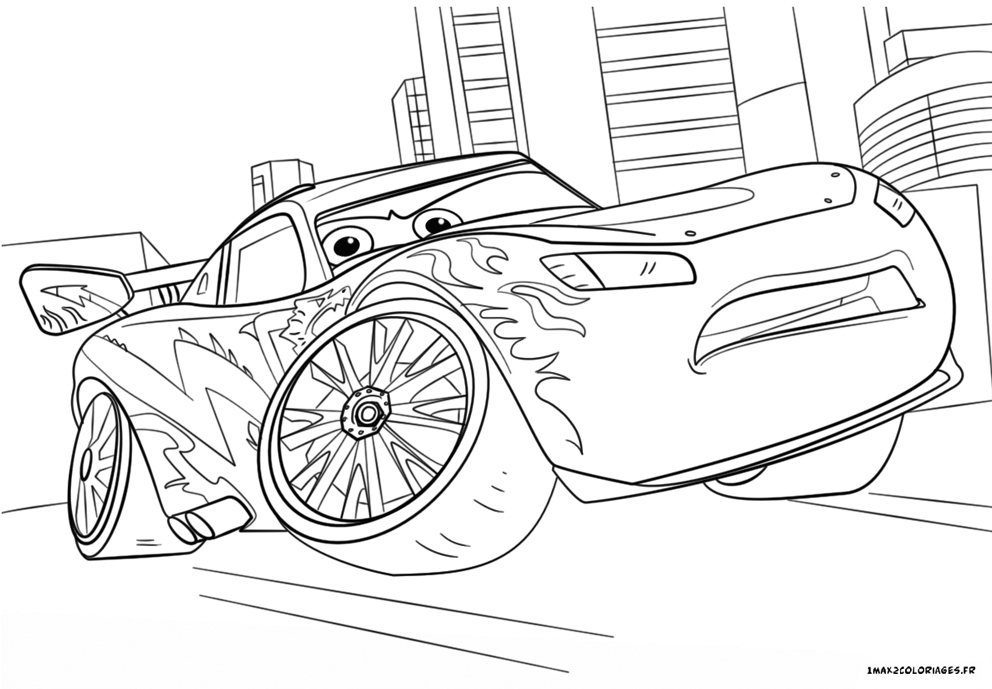 Coloriage cars 3 flash mac queen est hors course - Coloriage cars a imprimer a4 ...