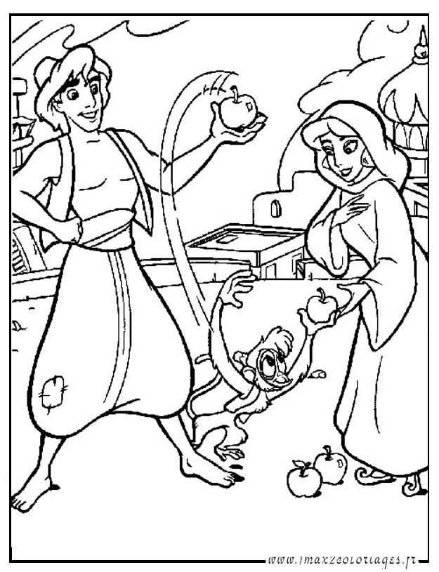 Coloriages aladdin de walt disney aladdin et jasmine - Coloriage de jasmine et aladin ...