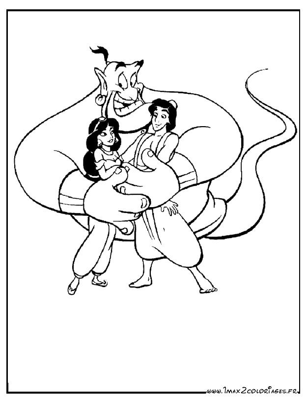 Coloriages aladdin de walt disney aladdin princesse jasmine et le g nie - Dessin a imprimer aladin ...