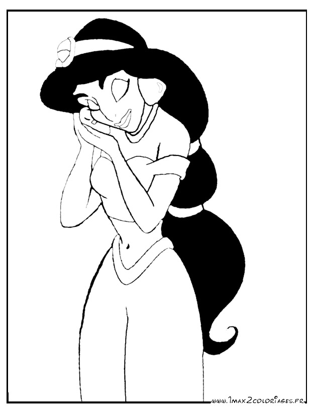 Coloriages aladdin de walt disney jasmine - Coloriage de jasmine et aladin ...