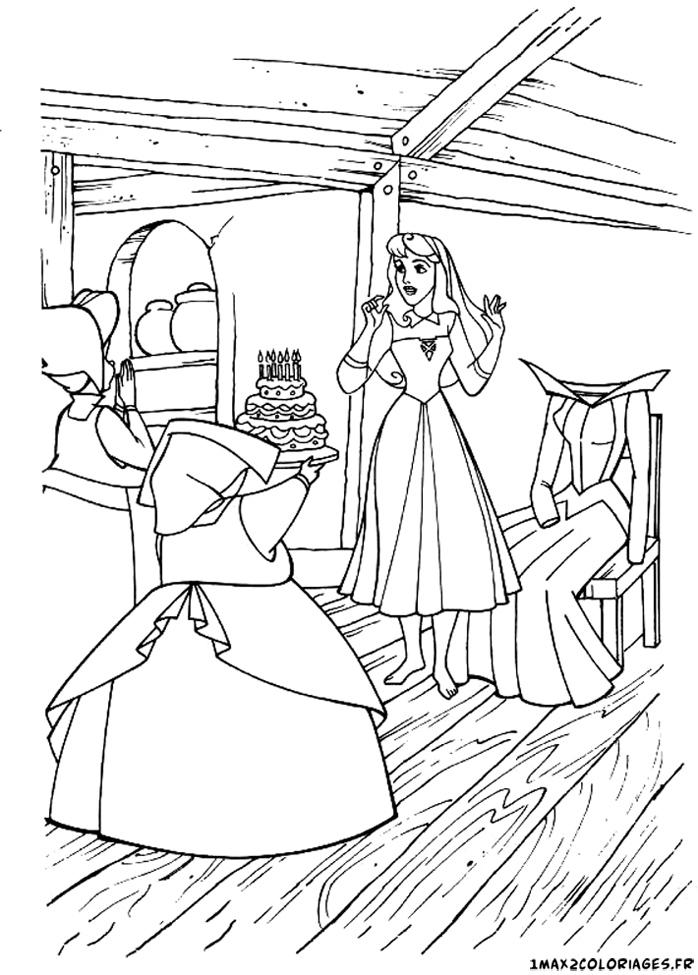 Coloriages de la belle au bois dormant de walt disney l 39 anniversaire d 39 aurore - La belle au bois dormant coloriage ...