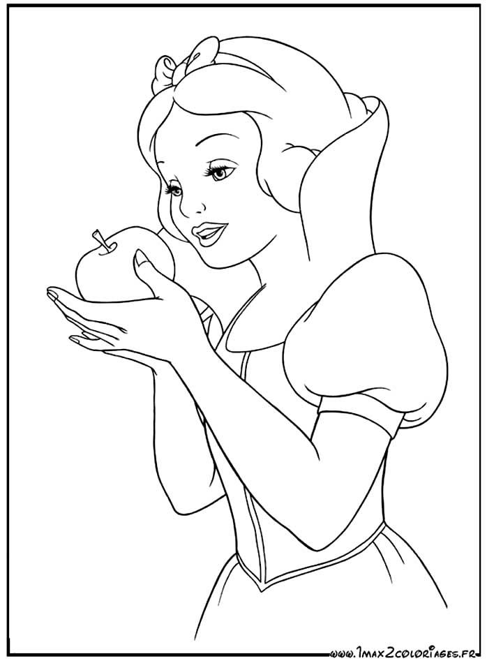 Coloriages du film d'animation de walt Disney : Blanche-Neige - dessin Blanche-Neige va t'elle ...