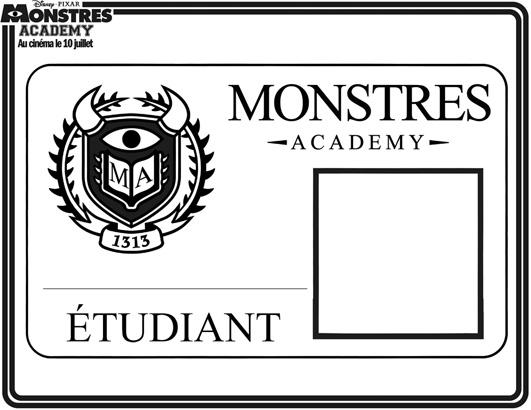 Coloriage Monstres Academy,carte De Membre A Imprimer En Ligne