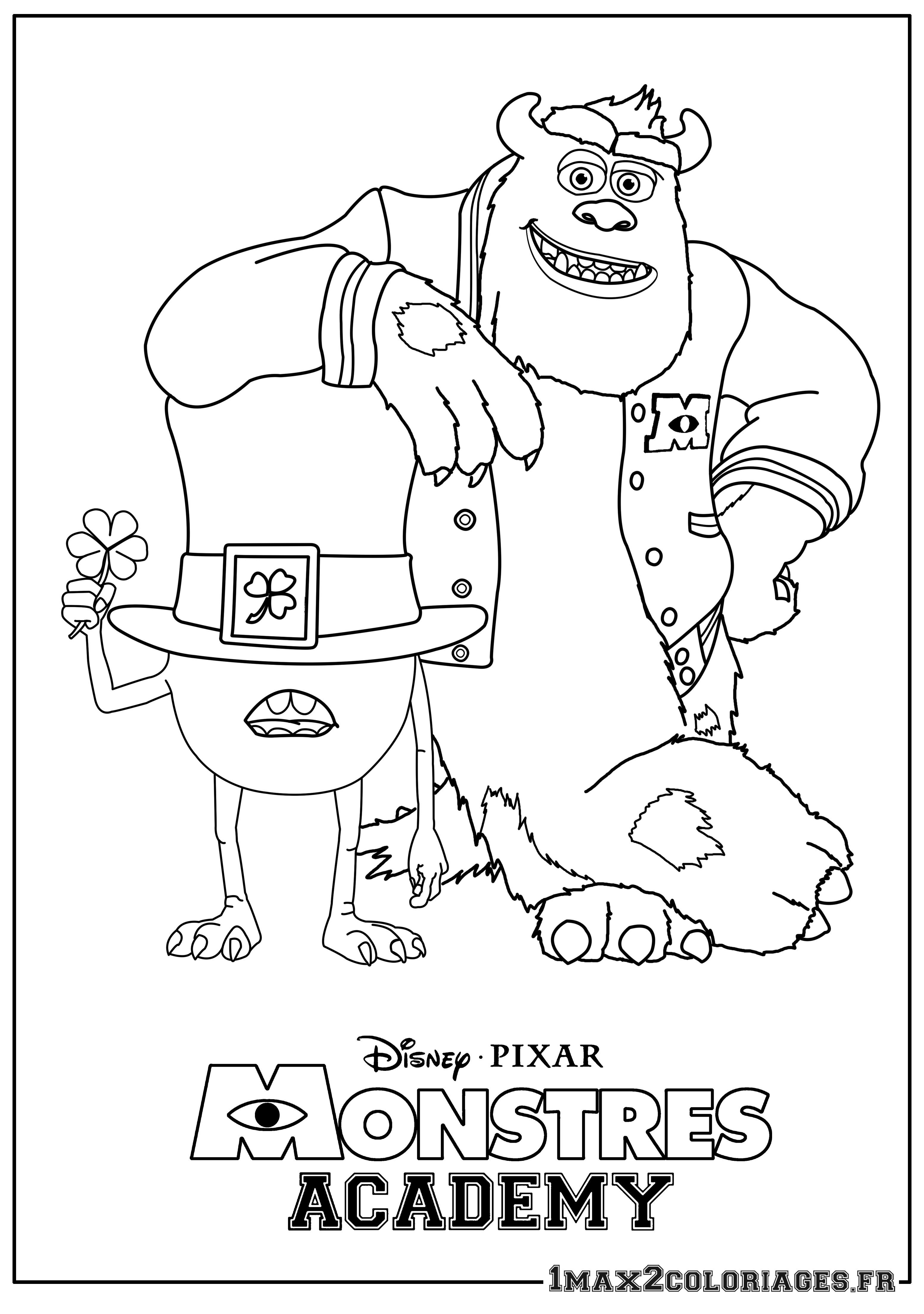 Coloriage Monstres Academy Bob Et Sully A Imprimer En Ligne