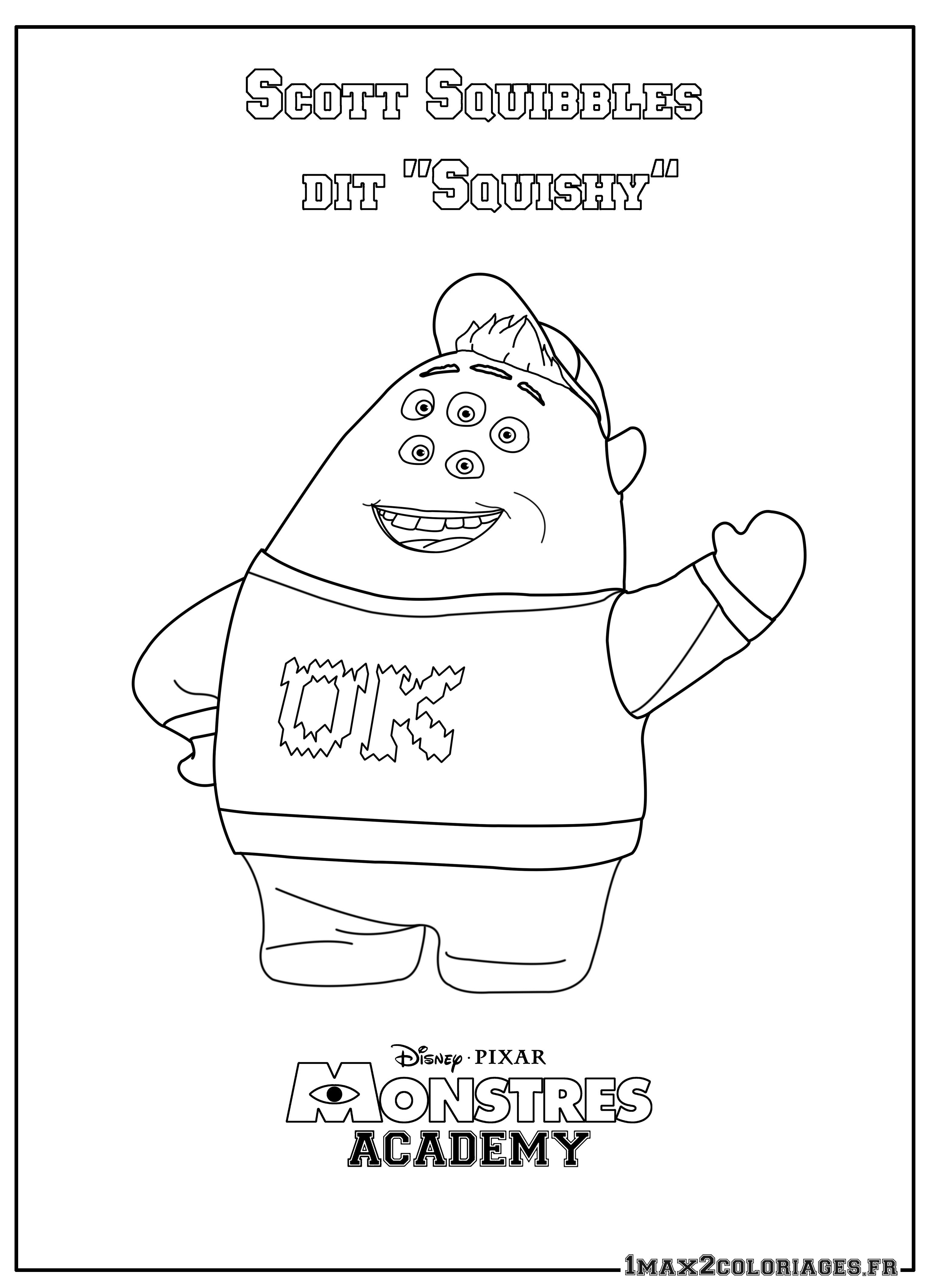 Coloriage monstres academy scott squibbles a imprimer en ligne - Coloriage de monstres ...