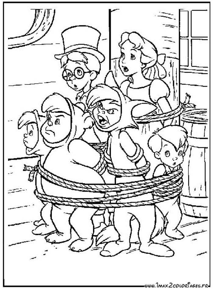 Coloriages Du Film D Animation De Walt Disney Peter Pan Dessin Les Amis De Peter Pan Sont Ligotes A Imprimer