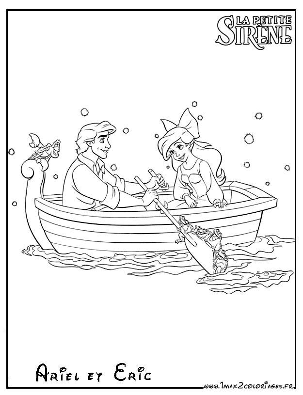 Coloriages La Petite Sirène - Ariel et Eric en barque