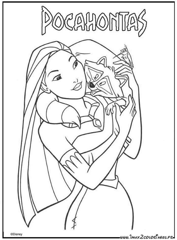 Coloriages Du Film D Animation De Walt Disney Pocahontas Dessin Meeko Le Raton Laveur Est Sur L Epaule De Pocahontas A Imprimer