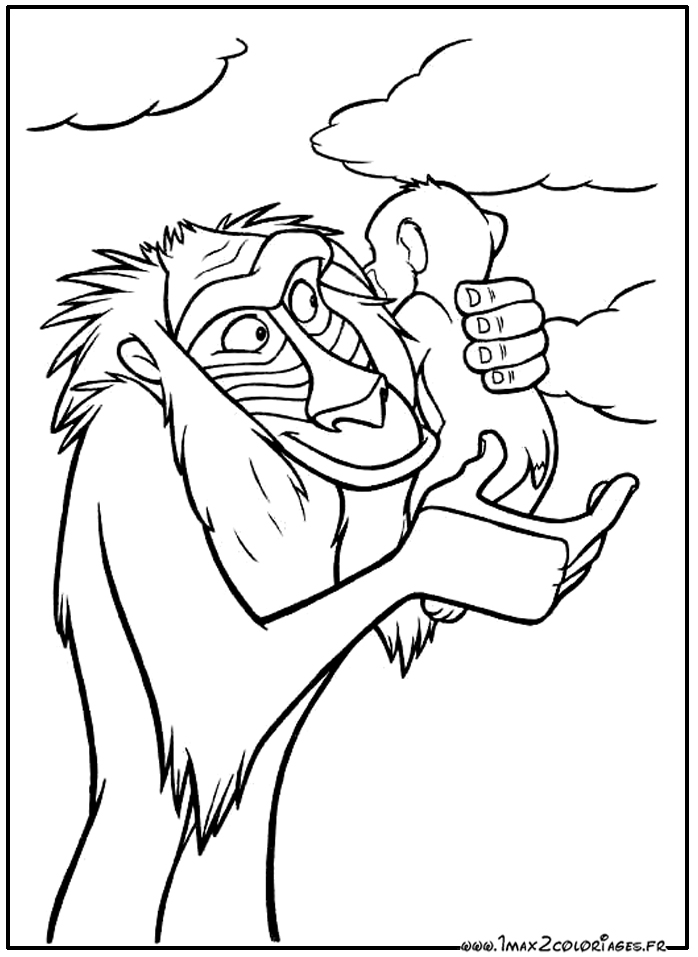 Coloriages Roi Lion De Walt Disney The Lion King Rafiki Et Simba