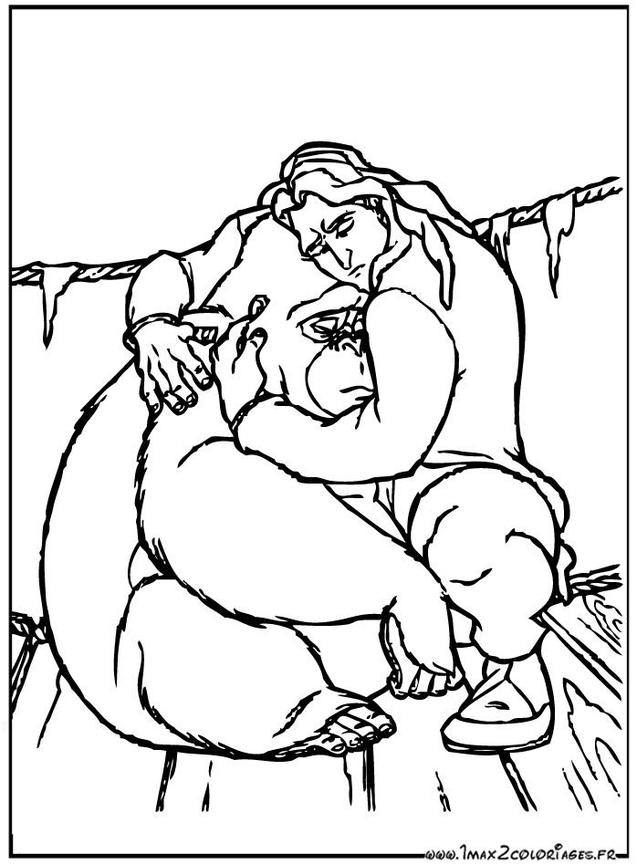 coloriage tarzan et kala - Coloriage Tarzan 3