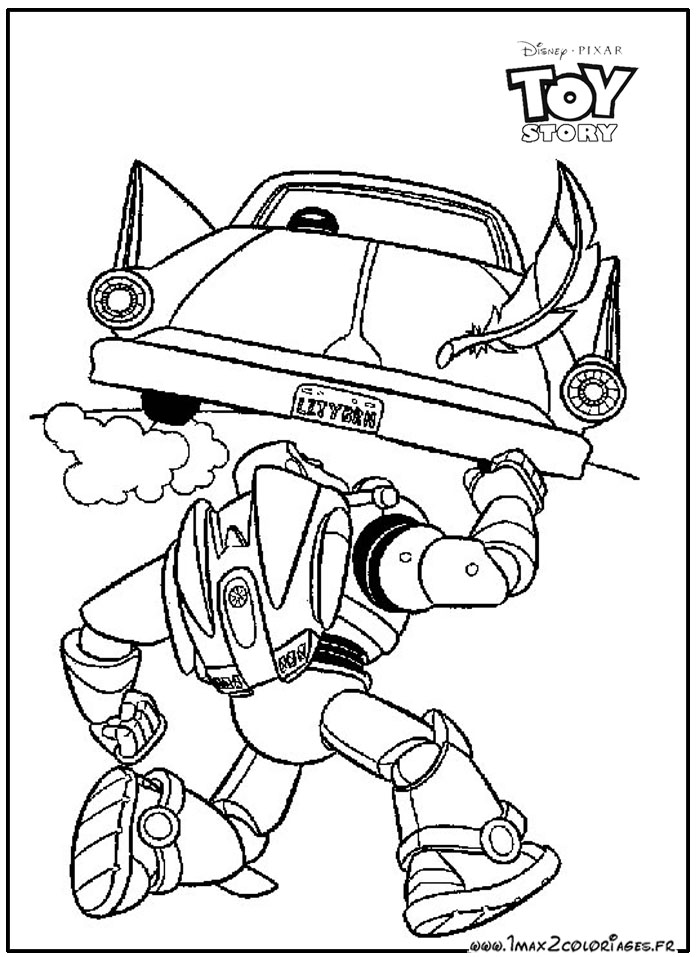 Coloriages Toy Story 1 - Buzz l\'eclair poursuit la voiture