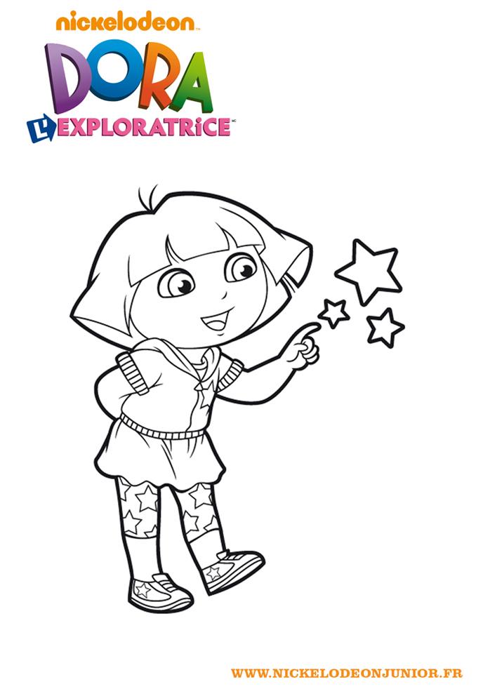 Coloriages Dora L Exploratrice Dora Touche Les Etoiles A Imprimer