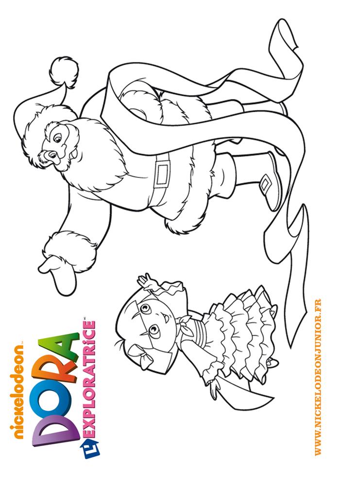 Coloriages Dora L Exploratrice Dora Et Le Pere Noel A Imprimer