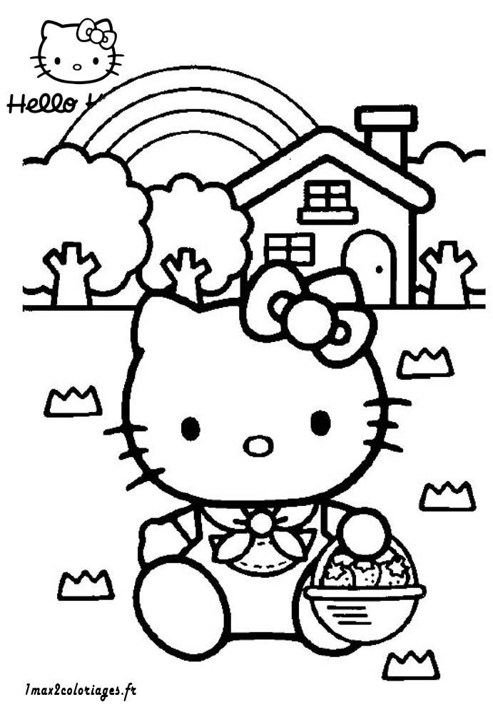 Coloriage Panier De Fraises.Coloriages De Hello Kitty A Imprimer Hello Kitty Et Son