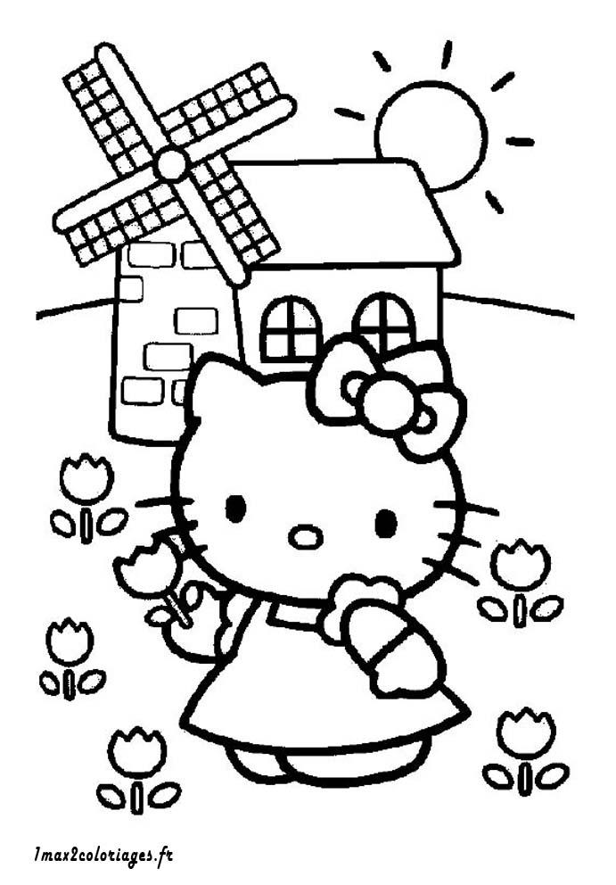 coloriages de hello kitty a imprimer hello kitty devant un moulin