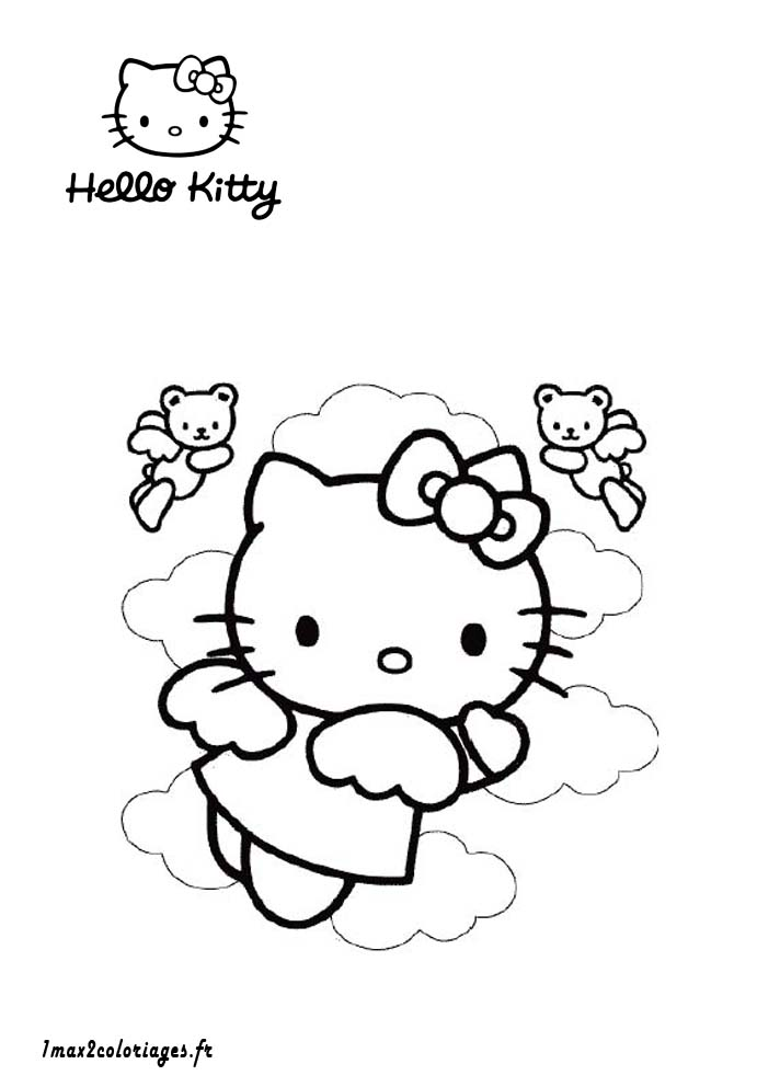 Coloriages de hello kitty a imprimer hello kitty s 39 envole - Hello kitty imprimer ...