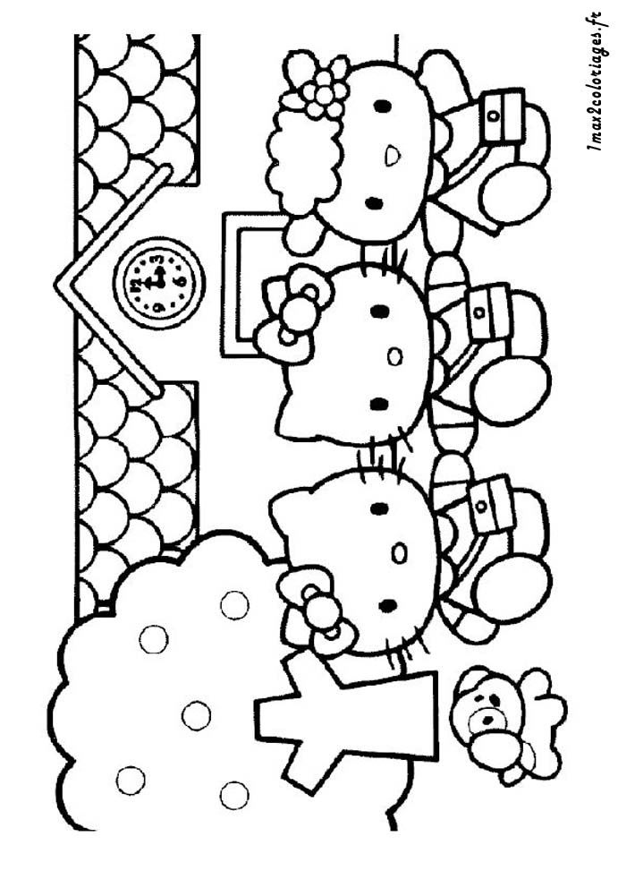 Coloriages de hello kitty a imprimer - coloriage hello kitty sort de l'ecole