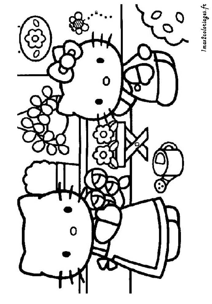 Coloriages de hello kitty a imprimer - Hello Kitty et sa maman