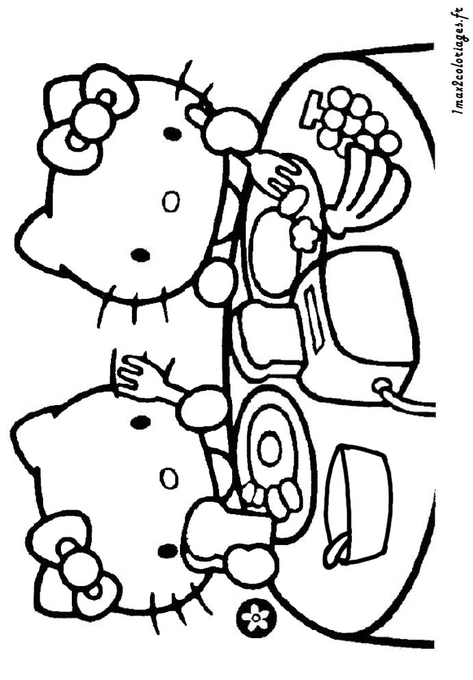 Prendre le petit dejeuner dessin - Coloriage hello kitty et mimi ...