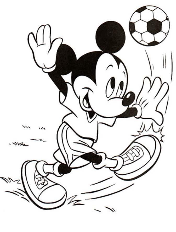 mickey joue au foot - Coloriage Mickey Imprimer Gratuit