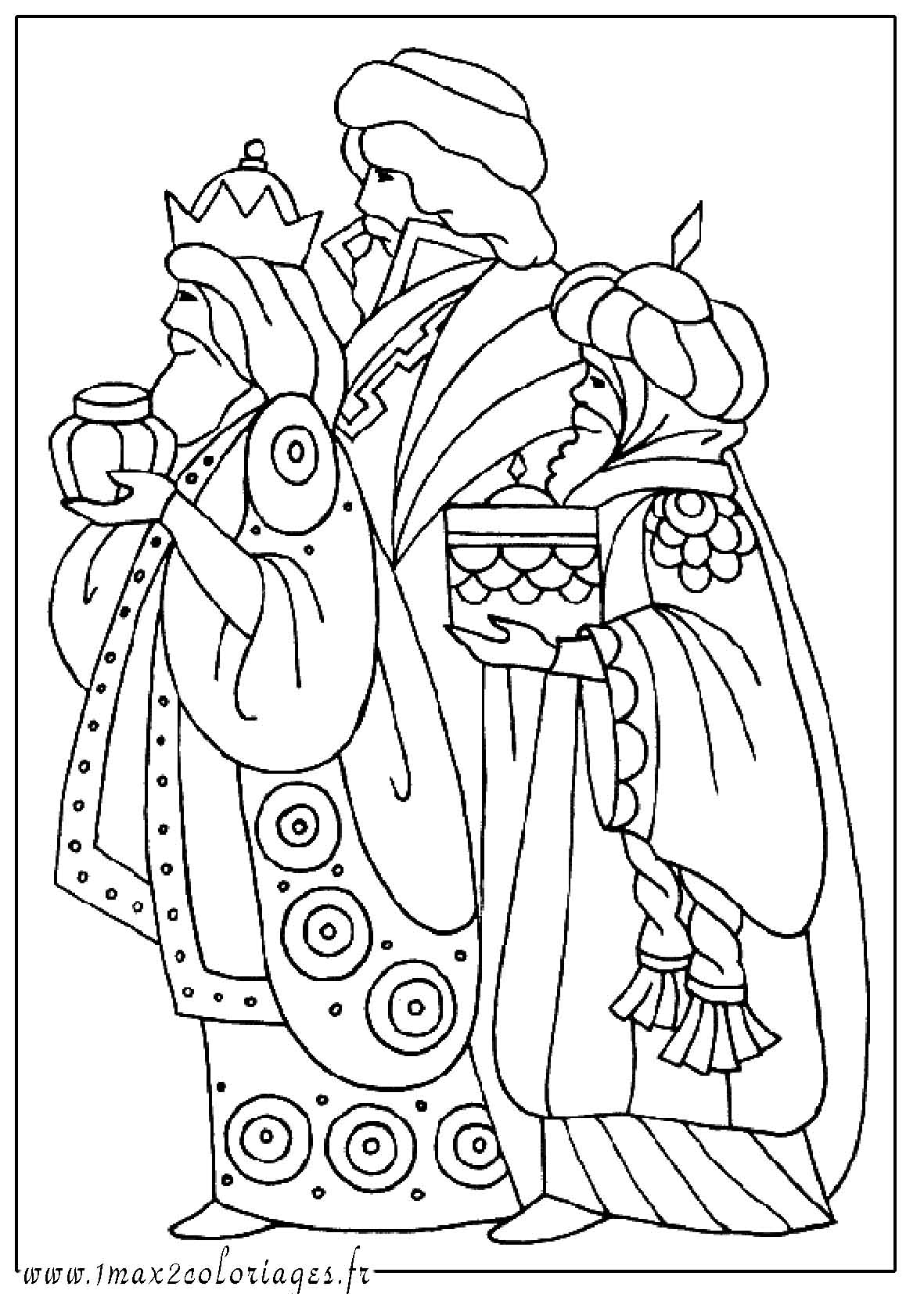 Pin coloriage creche noel on pinterest - Dessin rois mages ...