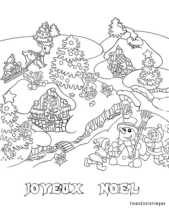 Coloriage de noel coloriage de noel dans la neige - Dessin joyeux noel ...