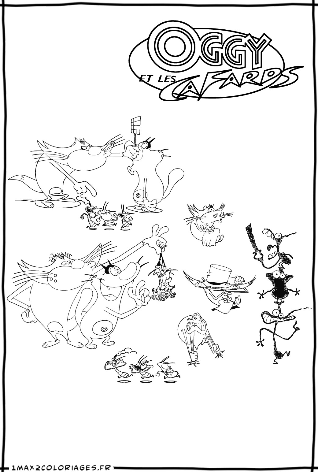 oggy and olivia coloring pages - photo #31