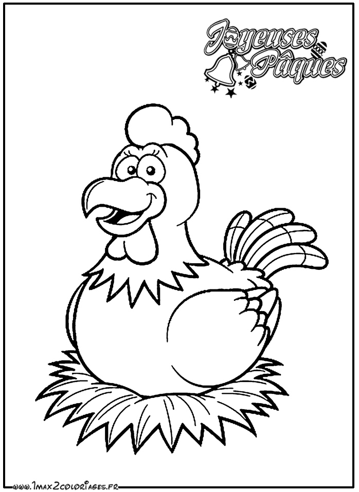 Coloriages de p ques coloriage poule de p ques - Poules de paques ...