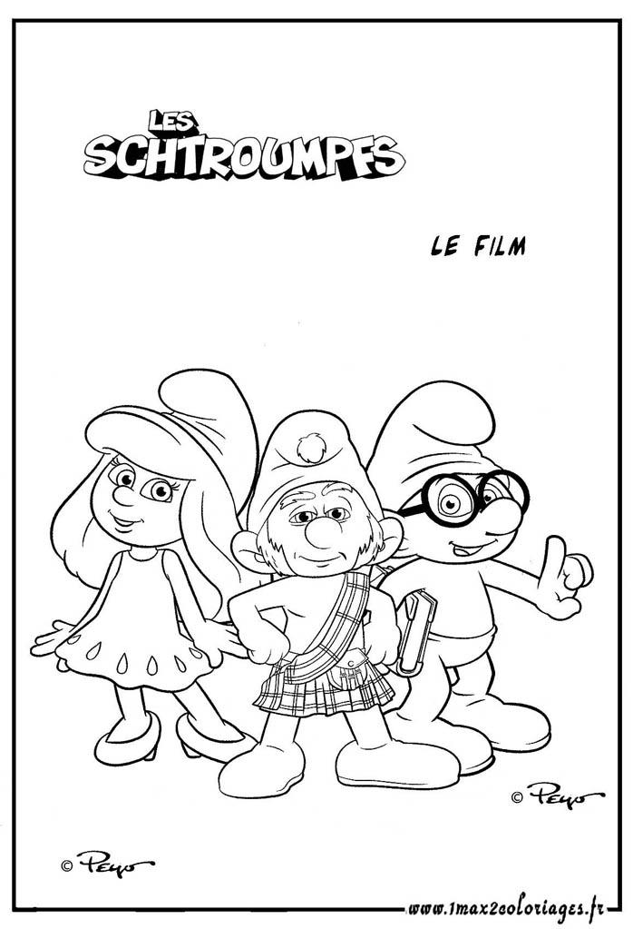 Coloriages du film les schtroumpfs la schtroumpfette le schtroumf lunette et le grand chtroumf - Le grand schtroumpf et la schtroumpfette ...