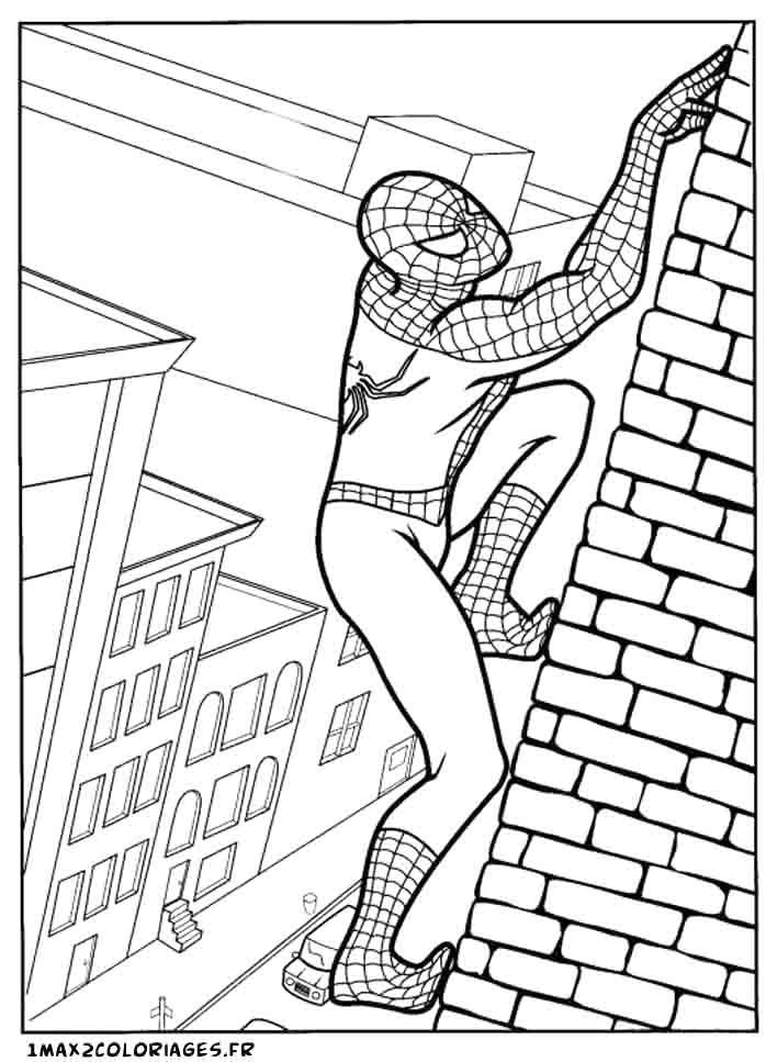 spiderman escalade une faade de building - Coloriage De Spiderman
