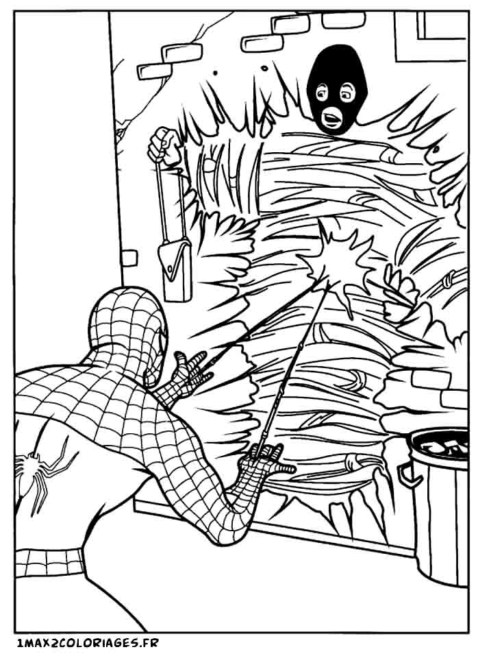 Coloriages de spiderman spiderman capture un m chant dans sa toile - Coloriage spiderman 1 ...