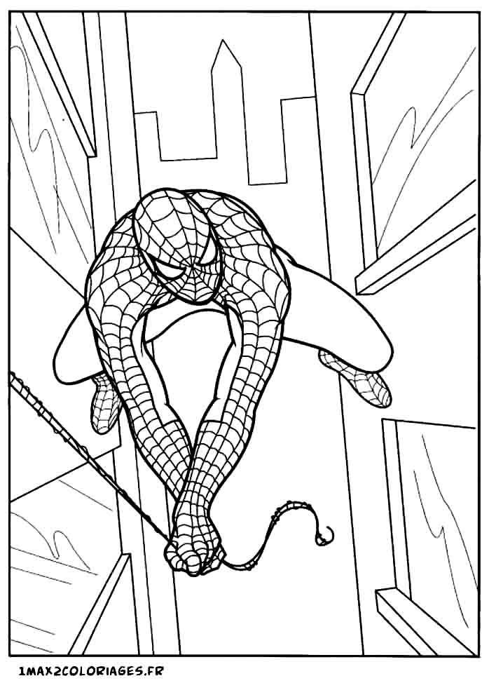 Coloriages de spiderman spiderman vole entre les building - Coloriage spiderman 1 ...