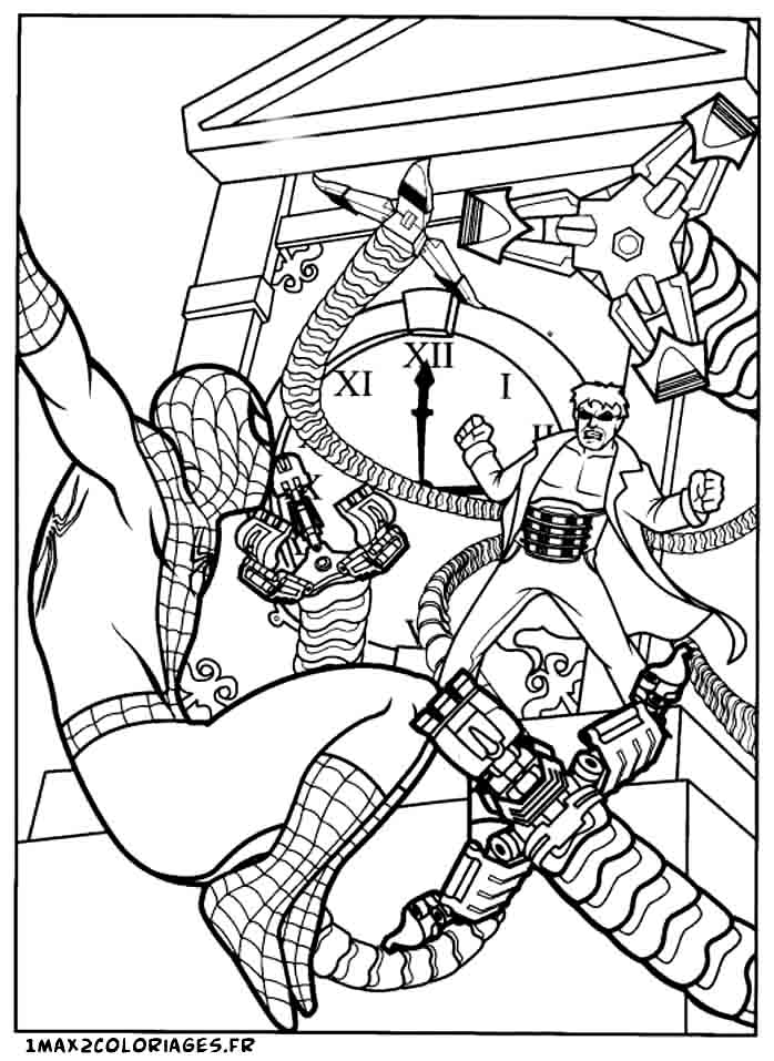 Coloriages de spiderman spiderman vs doctor octopus - Coloriage spiderman 1 ...