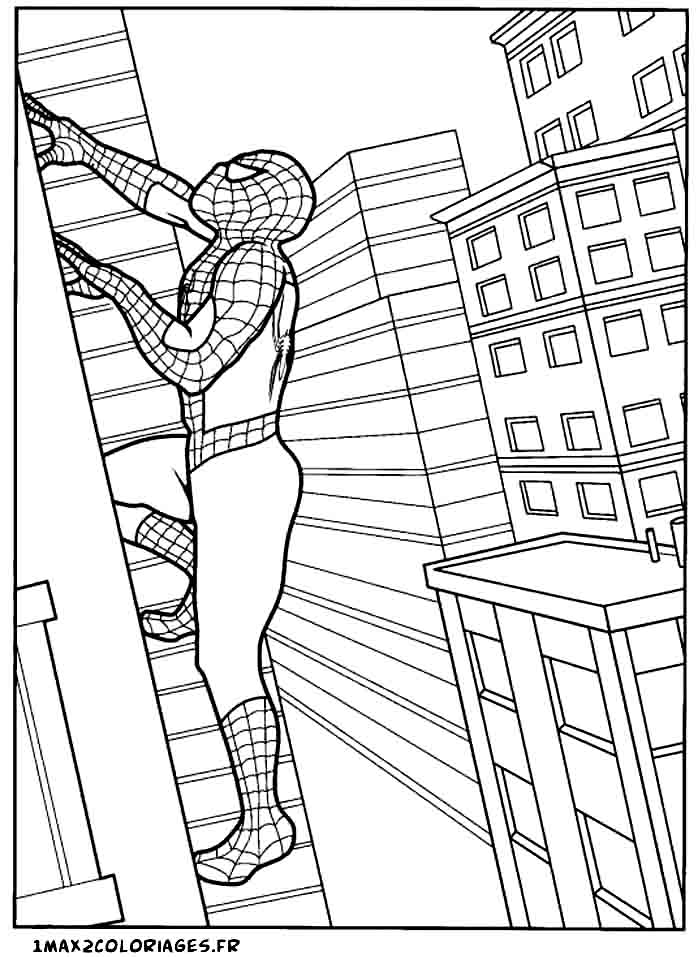 Coloriages de spiderman spiderman monte le long d 39 un gratte ciel - Coloriage spiderman 1 ...