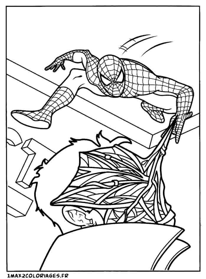 Coloriages de spiderman spiderman lance sa toile sur le mechant - Coloriage spiderman mechant ...